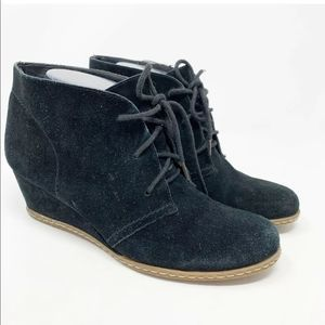 Franco Sarto suede lace up wedge booties